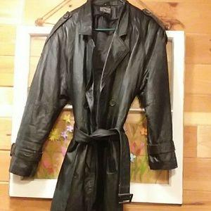 Wilson's long leather dress coat